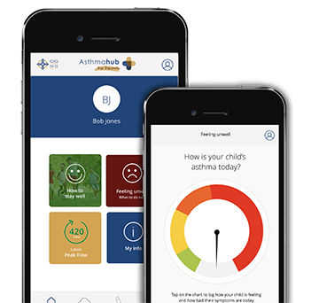 Asthmahub for Parents health app on a mobile phone screen. Manage, monitor and learn about your child's asthma, wherever you are.