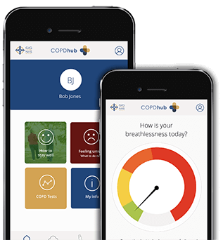 COPDhub health app on a mobile phone screen. Manage, monitor and learn about your COPD, wherever you are.