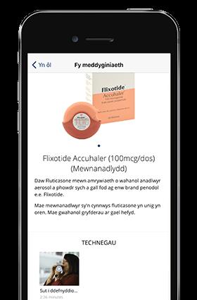 Healthhub interactive health app screen on a mobile phone.