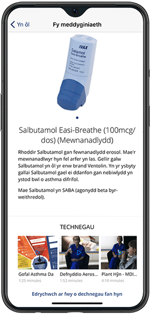 Asthmahub For Parents mobile phone screen in Welsh.