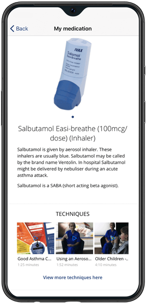 Asthmahub For Parents mobile phone screen.
